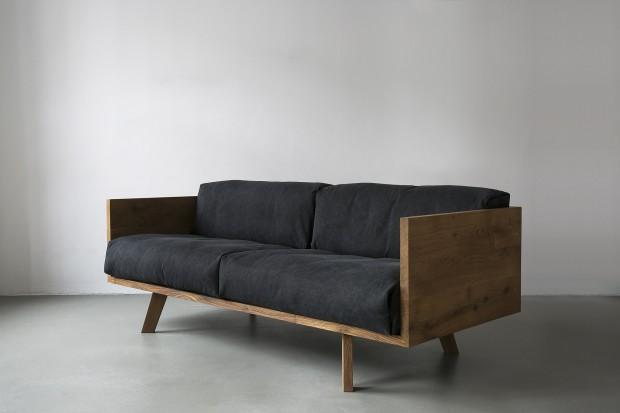 Canapé Oak Linen Sofa en chêne et en lin